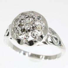French Fifties white gold ring with diamonds - Anno 1950