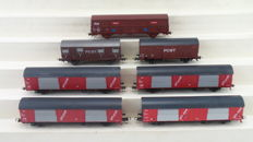 "Roco H0 - including 46273/46338/4373 - 7 Post wagons ""PTT Post"" in different versions of the  NS"