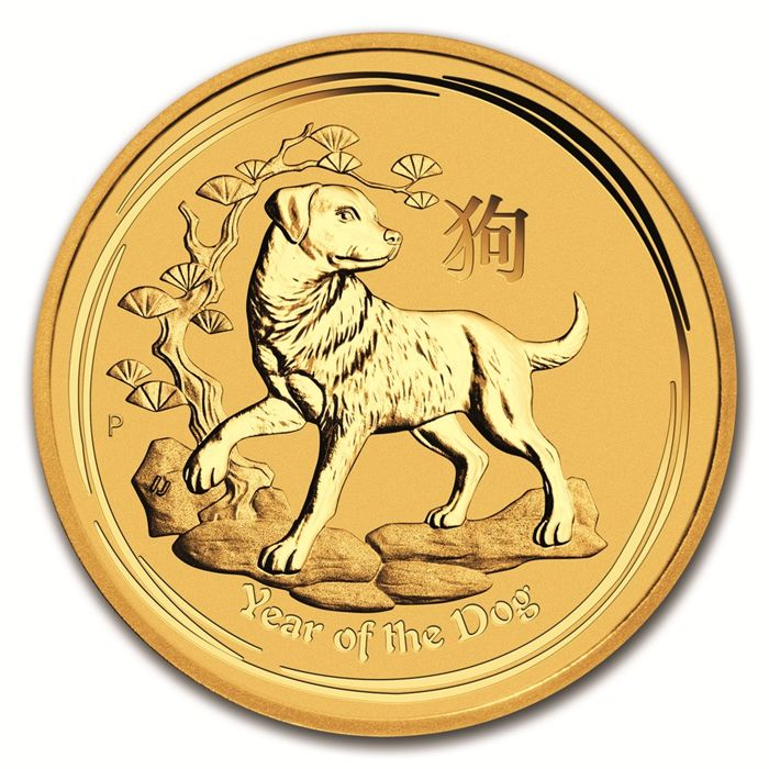 Australia - 15 Dollars 2018 Year of the Dog - 1/10 oz .999 - Oro