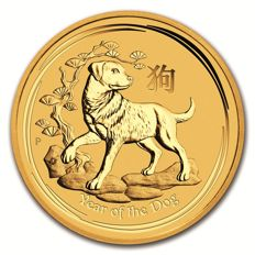 Australia - 15 dollars 2018 'Year of the Dog' - 1/10 oz gold