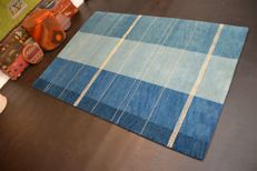 Modern hand-knotted carpet Gabbeh blue made of wool approx. 200 x 138 cm NEW