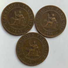 French Indochina - 1 Cent 1885, 1888 & 1892 (lot of 3 coins) - Bronze