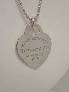 "Tiffany & co. - ""Return to Tiffany"" Heart Tag Pendant Extra Large - women's pendant with necklace 925 silver - 24″ / 60 cm length"