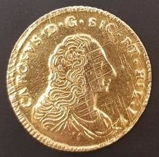 Kingdom of Sicily - Double Oncia (Ounce) 1756 Carlo (Charles) of Bourbon - Gold