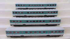 "Fleischmann H0 - 5144/5145 - Four carriages in the blue ""regionalbahn"" livery of the DB"