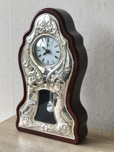 Large table clock with handmade silver front - 20th century