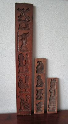 Three pieces hand-carved old speculaas boards - The Netherlands - ca. 1950