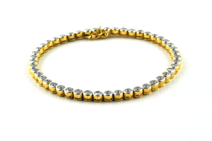 Exclusive Diamond Tennis Bracelet with 47 Diamonds Total +/-2.00CT set on Yellow & White 18k/750 Gold - Length 20cm **Free FAST Shipping**