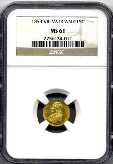 Papal States - Scudo 1853 Pio IX in NGC slab - gold