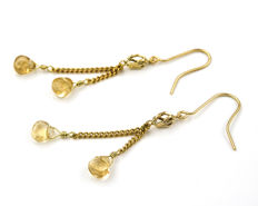 18 kt (.750) yellow gold - Earrings - Quartz - Earrings: 54.70 mm