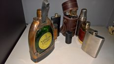 Hip Flask - Spirits Bottle - leather - copper stainless steel