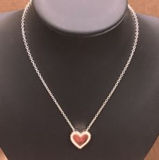 Salvini - Necklace with heart pendant - 18 kt rose and white gold 0.42 ct diamonds, G/VVS - Length: adjustable from 45 to 50 cm, heart dimensions: 1.7 x 1.7 cm