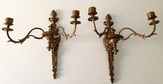 Lot of two double gold-plated brass wall candle holder - presumably France - first half 20th century