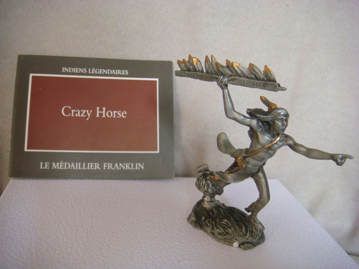 "Indian figurine ""Crazy Horse"" signed by Jim Ponter - Franklin Mint pewter"