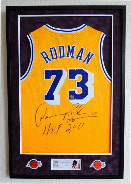 "Dennis ""The Worm"" Rodman - Original signed LA Lakers jersey - Premium Framed + COA and photo of the signing."