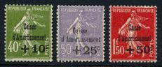 France 1931 - Caisse d'Amortissement signed Calves -  Yvert no 275-277.