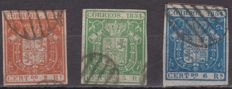 Spain 1854 - Coat of arms of Spain - Edifil No. 25, 26 and 27