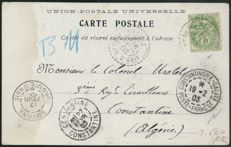 French Levant 1903 - cancelled, Rhodes for Algeria - Yvert no 111.