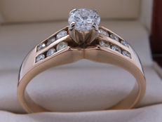 Certified gold diamond with with 0.71 ct / 0.41 ct solitaire brilliants - I1 with G colour - **No Reserve**