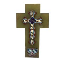 Antique French holy water font made of green onyx and a cloisonné cross 1820