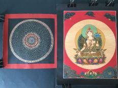 Two Thangkas depicting a Mandala and White Tara - Tibet - Beginning of 21st century.