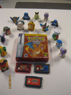 Gameboy Advance Pokemon lot. games with 4 games 15 mini Pokemon statues.