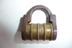 Antique wrought iron and brass combination padlock - 19th century