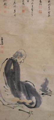 'Arhat/ Rakan' by Fukuhara Gogaku 福原五岳 (1730-1799) - Old handpainted hanging scroll with calligraphy - extensively signed and sealed - Japan - ca. 1780