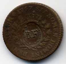 French Colonies - Sol des Colonies Françoises 1767-A w/ RF countermark - Louis XV - Copper