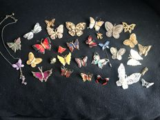 Collection of 31 enamelled vintage bugs butterfly  brooches