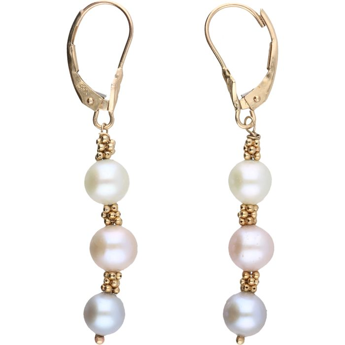 14k u2013 yellow gold earrings set with 3 cultured pearls in different colours u2013 length x