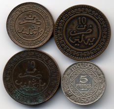 Morocco (protectorate) - Lot of 4 coins AH1320/1352 - Bronze & Silver