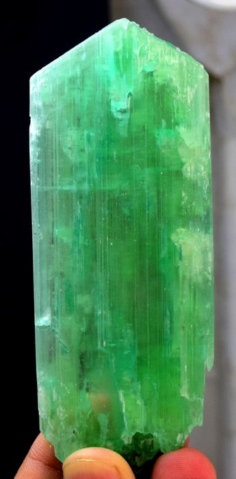 Terminated & Undamaged Lush Green Kunzite Hiddenite Crystal - 110*44*10 mm - 113g