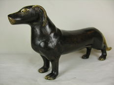 Bronze figurine - dog / dachshund - circa 2nd half of the 20th century or older
