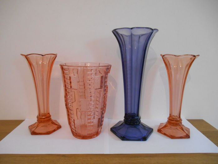 Val Saint Lambert - 4x Luxval vases in the Art Deco style