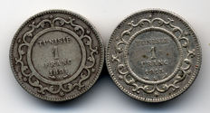 Tunisia - 1 Franc 1891-A & 1915-A (lot of 2 coins) - Silver