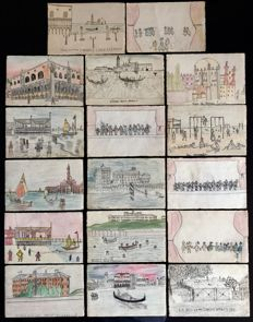 Italy - Venice - 1930 - 17 hand-drawn postcards