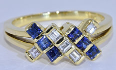 1.06 Ct Sapphire, Diamonds, princess ring - NO reserve price!