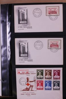 Belgium 1951/1994 - Batch of FDCs and covers in 2 albums and in box