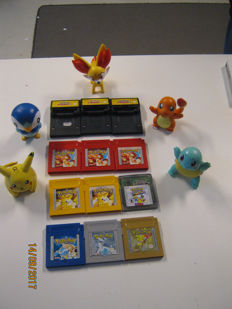 Pokemon lot: 12 pokemon gameboy games and 5 pokemon statues. 3x red, 2x yellow, 1x gold ,1x silver ,1x puzzle, 1x blue, 3x pinball without bat.lid.