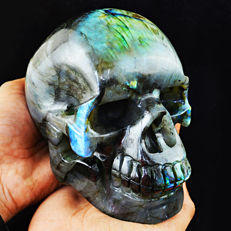 Huge Blue-gold flash Labradorite skull - 150x110x81mm - 2145gm