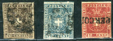 Tuscany, 1860 – Provisional Government vLot of 3 stamps – Sassone  Nos. 19b/20/21