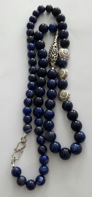 Natural Afghan Lapis Lazuli necklace with 925 silver, Length 67 cm