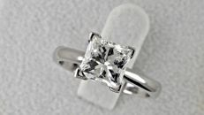 2.12 ct E/VS2 princess diamond engagement solitaire ring 18 kt in white gold - size 7