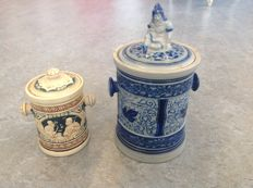 Two old tobacco jars - 19th / 20th century.