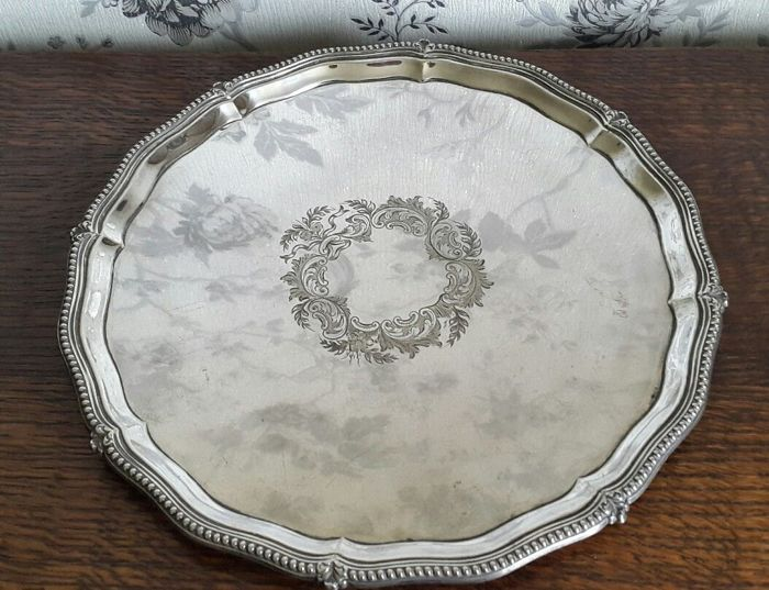 Silver plated tray with wavy edges by Frances Howard