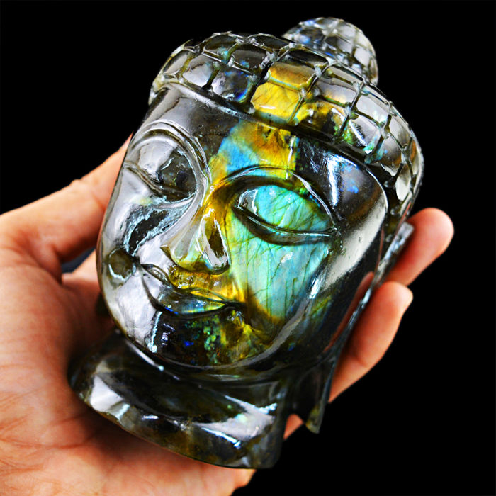 Top Blue Flash Labradorite Buddha Head - 110x67x63 mm - 951 gm
