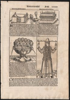 Michael Wohlgemut - The Stone Tablets a high priest in cult clothing - Leaf from Hartmann Schedel's Weltchronik - Folium XXXII - 1492