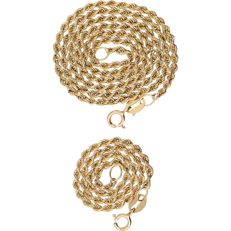 14 kt - Yellow gold rope link necklace and bracelet - Length: 42.5 cm and 19 cm