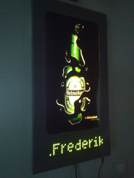 Royal HEINEKEN. Metal, backlit electronic ad. LED display. Any text. Your text to program .75/40/3cm. Full set with keypad.